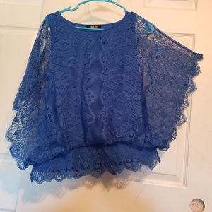 ❤ 3/$15 Style & Co. Blue Lace top medium